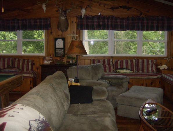 Family room - man cave, Lodge/fishing cabin decorated family room with husband in mind.  Children are raised -- now it's his turn!, family room, man cave  , Other Spaces Design
