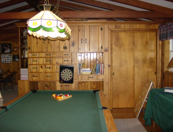 Family room - man cave, Lodge/fishing cabin decorated family room with husband in mind.  Children are raised -- now it's his turn!, pool room area  , Other Spaces Design
