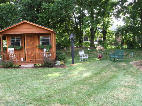My Garden Shed, This area in our yard began with a ready-made building created by local Amish.  The arbor/potting shed was built by a builder friend and the inside was co-created by a decorator friend and myself.   , This is the sitting area to the right of the shed., Gardens Design
