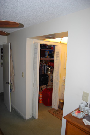 Closet size master bath, We have a bathroom that is the size of a closet. We cannot figure out what to do with it or how to make changes., This bathroom is to small for two grown men who have to share it along with no bath tub. We bought an older home and have done a great deal of work on it, but have not idea what to do with the closet bathroom. It has a walk in close that although we use it, can go, Please help us., As you can see, this closet is also in our bedroom, which is also in the bathroom , Bathrooms Design
