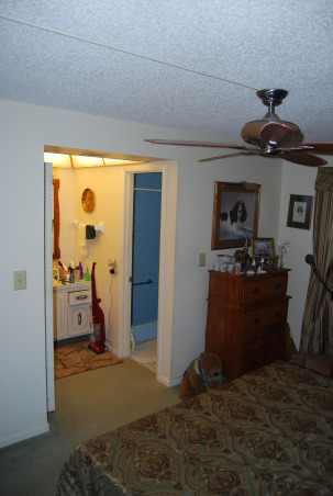 Closet size master bath, We have a bathroom that is the size of a closet. We cannot figure out what to do with it or how to make changes., This bathroom is to small for two grown men who have to share it along with no bath tub. We bought an older home and have done a great deal of work on it, but have not idea what to do with the closet bathroom. It has a walk in close that although we use it, can go, Please help us., Looking into wash are and shower from the bed room. , Bathrooms Design