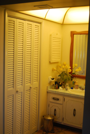 Closet size master bath, We have a bathroom that is the size of a closet. We cannot figure out what to do with it or how to make changes., This bathroom is to small for two grown men who have to share it along with no bath tub. We bought an older home and have done a great deal of work on it, but have not idea what to do with the closet bathroom. It has a walk in close that although we use it, can go, Please help us., Walk in closet which is not needed or any use , Bathrooms Design