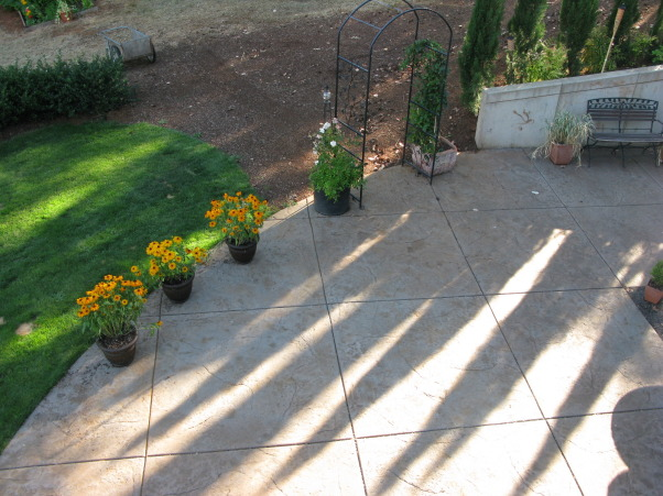 Tuscan Courtyard, the new fountain is the main focal point of this large open space. I'm trying to design this space to make it feel more intimate. I'm stuck...need help!!!!!!!!, view from deck, Patios & Decks Design