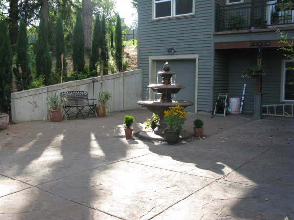 Tuscan Courtyard, the new fountain is the main focal point of this large open space. I'm trying to design this space to make it feel more intimate. I'm stuck...need help!!!!!!!!, another view, Patios & Decks Design