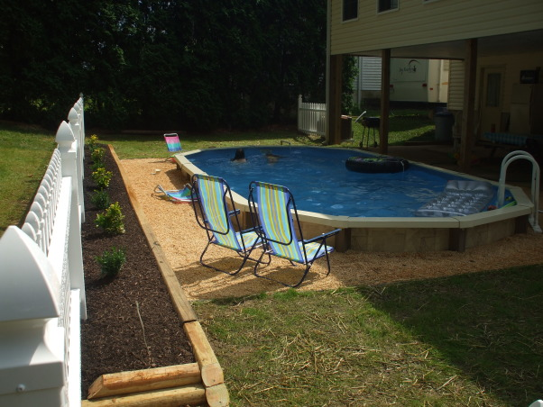 Semi Inground pool project 8 Photos, How to bury and aboveground pool,,,on a budget 4 months,$2000.00 and I lost 25-30 pounds.(I needed to anyway), Pools Design