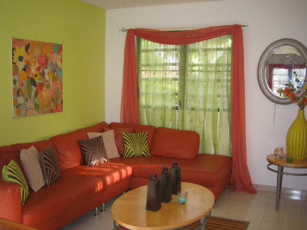 Modern Caribbean Living Room, Its a cozy, colorful and bright living room, with modern accents. , Living Rooms Design