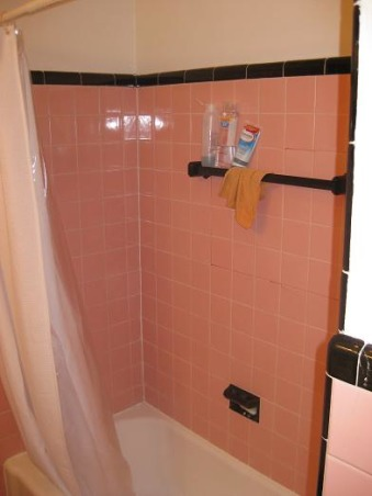DIY bathroom redo, In the 50's pink and black tiled baths were all the rage.....not so much these days.  We just couldn't take the pink anymore.  This a DIY redo for under $700.  , Inside old shower , Bathrooms Design