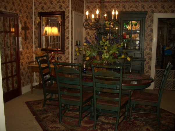 English Country Style dining room, view into living room, Dining Rooms Design