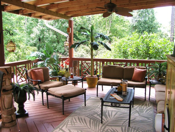 Tropical Lanai, We covered part of our deck to protect us from the sun and added 2 ceiling fans to keep us cool.  We have a tv and stereo in the Palm Tree entertainment center along with wireless internet for us to enjoy our laptops on the lanai while having a margarita and listening to Jimmy Buffett., Patios & Decks Design