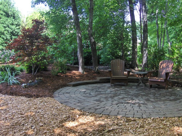 Patio in the Woods, This was before the new plantings.   , Landscaping