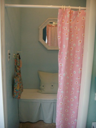 Pool House Changing Rooms, This space was nothing but a storage closet made out of particle board.  It took only two weeks to re-decorate it into girls' and boys' changing rooms for the pool!, Pools Design