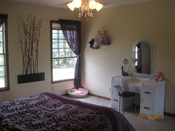 Purple Teen Room, Young Teenagers sofisticated, comfortable room that she loves., Another view showing her vanity that was painted white with purple handles, Girls' Rooms Design