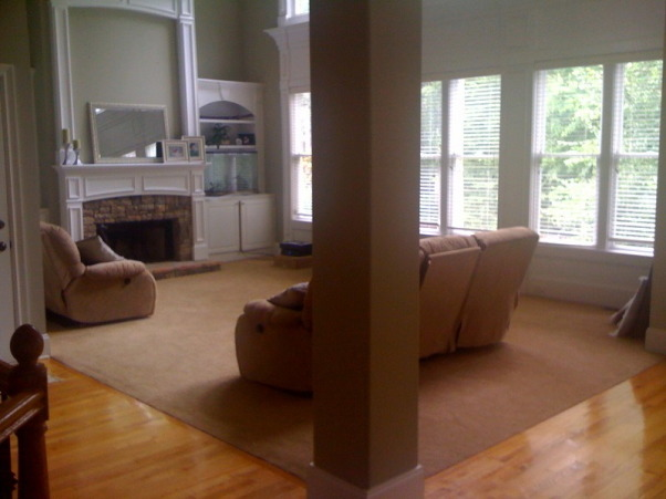 I NEED HELP! , We just moved to this beautiful home in Marietta, GA (that we're renting now) but we don't have the right furniture to fill the space nicely. I don't want to ruin it by adding the wrong furniture/accessories for the room! We just bought a huge sectional but now we're reconsidering. We're probably going to cancel the order, but we don't know what kind of furniture to buy! This is the room we'll spend the most time in, we have 2 young children, and my husband likes to recline. We are also not sure if we should mount the TV above the fireplace or elsewhere, or buy a TV stand. Would 2  sofa's work facing each other, perpendicular to the fireplace? Or a sofa, loveseat, armchair/ottoman? Or a sectional? Or a sofa and 2 armchairs? HELP WE HAVE NO CLUE!!!   ps... we like modern/contemporary styles pps...another reason we're leaning against a sectional is we need something versatile in case we move., this is how it looks with our old furniture... just to give an idea for scale, Living Rooms Design