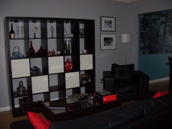 Black, Red and Gray Living Room, We already had a black and red color scheme for our living room from our previous place, so when we moved in here I was hard pressed to find a color besides the original mint green to paint the walls.  I ended up choosing gray, which everyone told me would make the space dark and gloomy, and am happy that I ignored the people that told me otherwise.  I still need to find a color for the wall with the window in it, as it still has the flower detailing and mint paint from the previous owner., Living Rooms Design