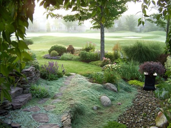 foggy golf course garden, Gardens look so different at different times of day and every once in a while the cat wakes me up early. Often, fog  gathers on the course to form a beautiful backdrop., From the side entry to the back yard., Gardens Design