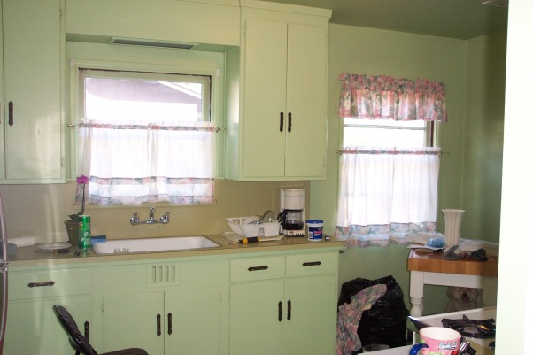"1940's Cottage Kitchen, 1940' Cottage kitchen on a budget., Kitchen before. ""GREEN""!     , Kitchens Design"