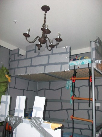 Dragon & Castle Room, Boys bedroom in the theme of a castle or dungeon complete with dragon!, The chandelier came from our dinning area when we moved in. We did not want it there and it fit perfectly up here! , Boys' Rooms Design