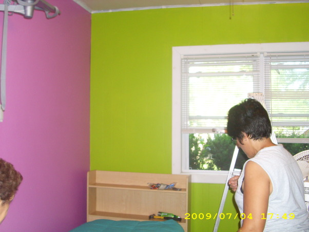 Groovy Bedroom To Be, I want to change things up a bit, and this space is kind of cramped but has potential..., lime green and purple/pink walls, Bedrooms Design