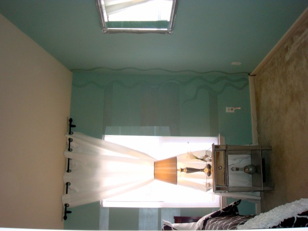 Tiffany Blue Room, The bedroom I created was for a fun and established woman that loves the Tiffany Blue color. We did the room on a very tight budget with lot of personal style and class. , pearl painted accents, Bedrooms Design