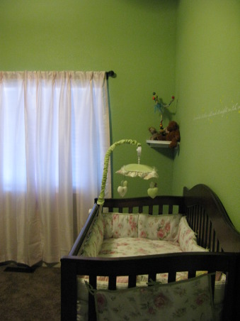Vintage Peter Pan , I have always loved the movie hook and wanted to do a room inspire by the nursery in that. So here is the Nursery for our Baby Jenevieve. , The view as you enter the room. Those drapes are really light pink., Nurseries Design