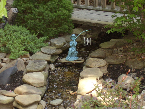 Backyard Escape, Our new backyard patio overlooks a small garden with pond and fountain., Small creek that flows into the pond.       , Gardens Design