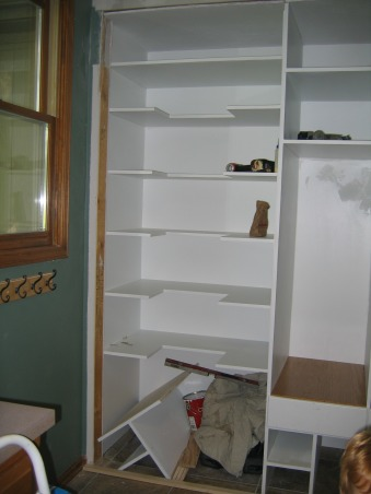 "Mudroom Built-in (repost), I drew up a plan to convert our laundry room closet into mudroom lockers and pantry storage.  It is still a work-in-progress, but I need ideas on how to finish it off.  UPDATE - the lockers are finished!!!, The built-in pantry is right next to the mudroom lockers;  a pantry door is on order (white door with frosted glass insert that has ""PANTRY"" on it with some pantry items.)     , Other Spaces Design"