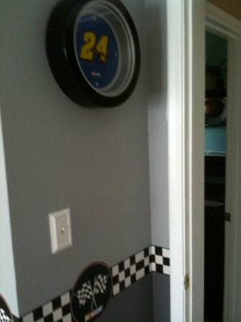 Nascar Themed Bedroom, my son is a race car fan. so my husband and i decided to give him the room of his dreams., the clock and the accessories was found at rooms to go kids. now 75% off, Boys' Rooms Design