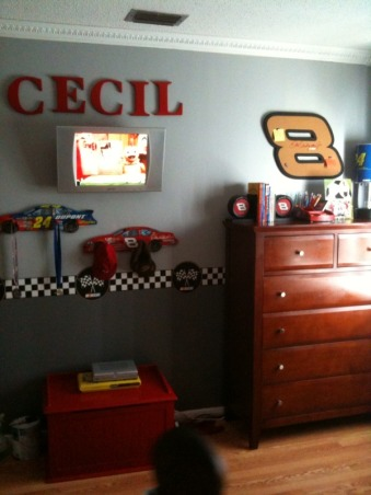 Nascar Themed Bedroom, my son is a race car fan. so my husband and i decided to give him the room of his dreams., the room was painted a two toned grey. The border was found at amazon. the letters were spray painted along with his toy chest, Boys' Rooms Design