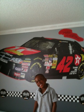 Nascar Themed Bedroom, my son is a race car fan. so my husband and i decided to give him the room of his dreams., The poster is  was purchased at fathead.com, Boys' Rooms Design