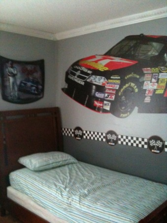 Nascar Themed Bedroom, my son is a race car fan. so my husband and i decided to give him the room of his dreams., the authentic nascar hood was $ 175.00 at rooms to go kids. the bedding is on back order along with a kids recliner chair form amazon as well., Boys' Rooms Design