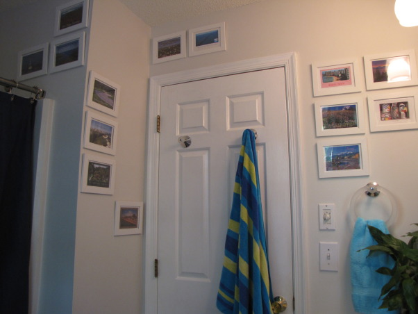 Postcard Covered Bathroom, I collect postcards from everywhere I go, so instead of keeping them in a box, I decided to display them.  Now the bathroom is a trip down memory lane with postcards of mountains, beaches, cities, etc.  ,   , Bathrooms Design