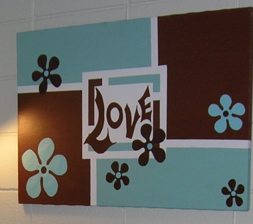 "Freshman Dorm Room, Stylish Dorm Room With Special Details, Color-block flower power paintings.  Roommate has one with ""Faith."", Dorm Rooms Design"