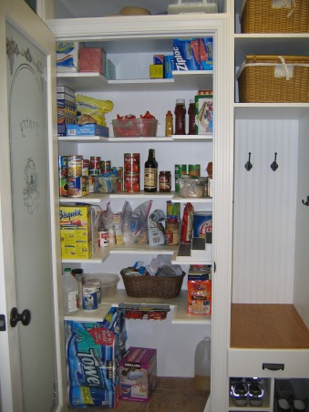 "Mudroom Built-in (repost), I drew up a plan to convert our laundry room closet into mudroom lockers and pantry storage.  It is still a work-in-progress, but I need ideas on how to finish it off.  UPDATE - the lockers are finished!!!, Shelves are on three sides, which utilizes a lot of space without ""hiding"" too many items.  , Other Spaces Design"