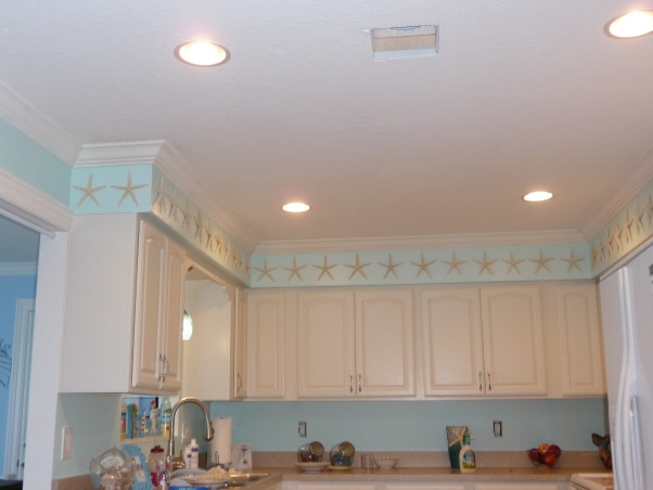 Beach Style Kitchen Makeover, Renovated old dull kitchen with bright beach style., New ceiling texture, lighting and crown molding.  (Still need A/C cover.)  , Kitchens Design