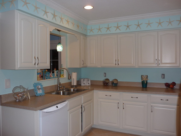 Beach Style Kitchen Makeover, Renovated old dull kitchen with bright beach style., I love the starfish!, Kitchens Design