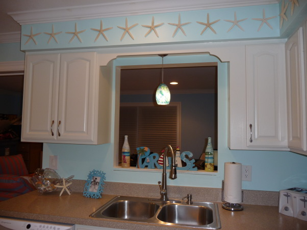 Beach Style Kitchen Makeover, Renovated old dull kitchen with bright beach style., Pretty over-sink light!  My colors were chosen because of this light.  I bought it first., Kitchens Design