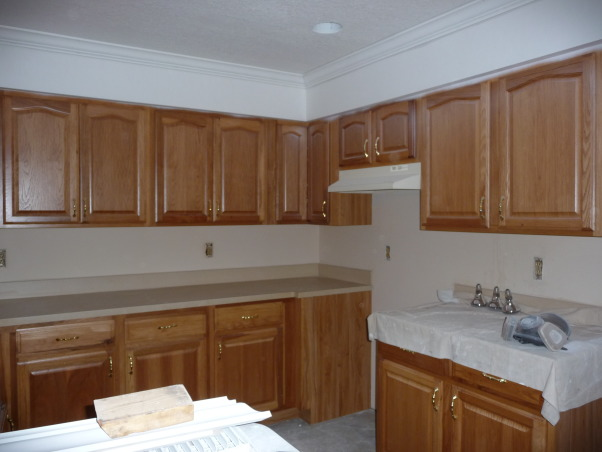 Beach Style Kitchen Makeover, Renovated old dull kitchen with bright beach style., New crown molding., Kitchens Design