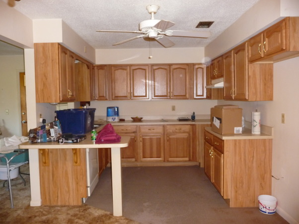 Beach Style Kitchen Makeover, Renovated old dull kitchen with bright beach style., We inherited a new home and renovated it.  This is the old yucky kitchen.  It had ugly popcorn ceilings and a ceiling fan?  What?, Kitchens Design