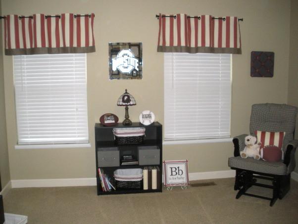 Vintage Ohio State Nursery, A tasteful take on a sports-themed vintage Ohio State nursery. , Custom grommet valances and black bookcase from Wal-Mart. Baskets from Michael's. , Nurseries Design