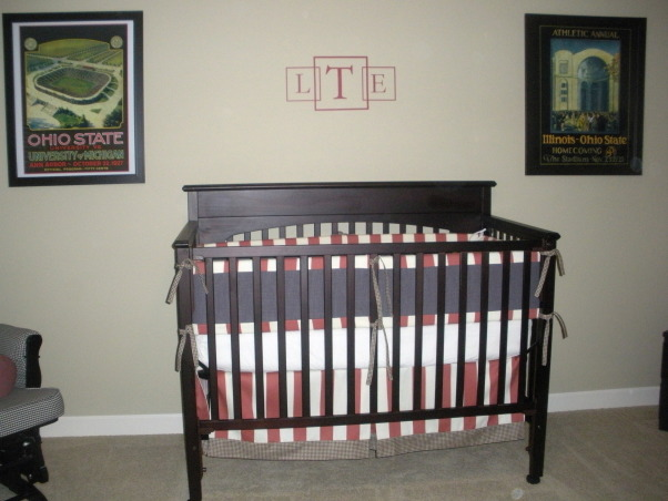 Vintage Ohio State Nursery, A tasteful take on a sports-themed vintage Ohio State nursery. , I wish the initials were bigger. I assumed I would receive same size as picture shown on the website...assumed wrong:( So, I'll live with it rather than spend another $50 on bigger., Nurseries Design