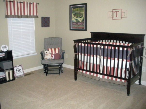 Vintage Ohio State Nursery, A tasteful take on a sports-themed vintage Ohio State nursery. , Black & cream gingham rocking chair with memo board above. I re-covered a memo board with fabric and ribbon and made pillow to match the bedding.  , Nurseries Design