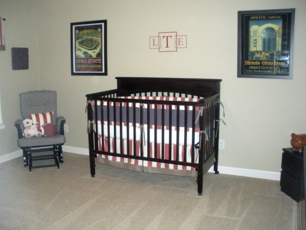 Vintage Ohio State Nursery, A tasteful take on a sports-themed vintage Ohio State nursery. , Vintage OSU posters and vinyl wall letters above Graco Lauren Crib. The bedding was custom made. Cream & vintage red striped, black & cream gingham and charcoal gray.  , Nurseries Design