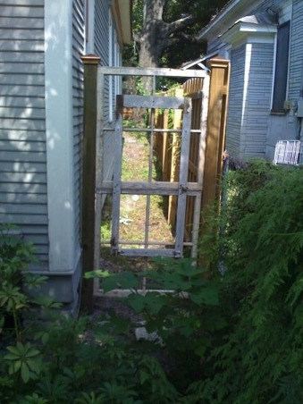 Condemned $20k Historic House Saved!, Located in the nationally recognized neighborhood of Jacksonville-Springfield, Florida, I bought this condemned home after seeing it for sale on the internet.  , Recycled vintage window frame gate    , Home Exteriors