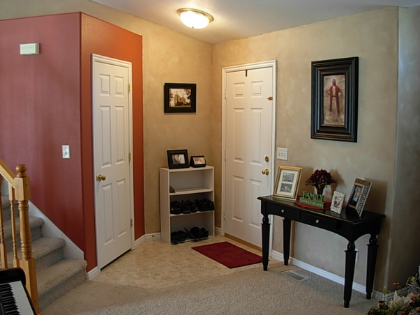 Red, Gold, and Faux, A small room with high arched ceilings. There is brown faux finish on the walls, but it may be hard to tell. Hoping for a classy, timeless effect while on a penny budget, and a room to inspire me while writing music on the piano., entrance.   , Living Rooms Design