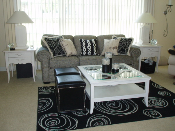 Black and white fun, After our previous home flooded, we moved into a modern new home. Out with the old traditional stuff and in with the new and sleek!, Living Rooms Design