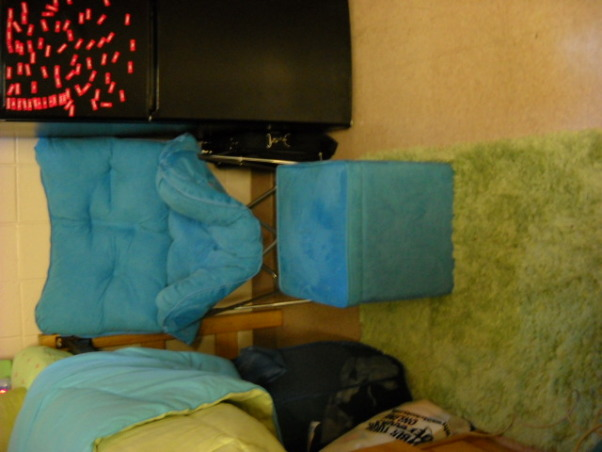 Beach Themed Dorm Room , Freshman Year at College! I love how my room came out, its part of a triple. , Comfy Chair that everyone loves , Dorm Rooms Design