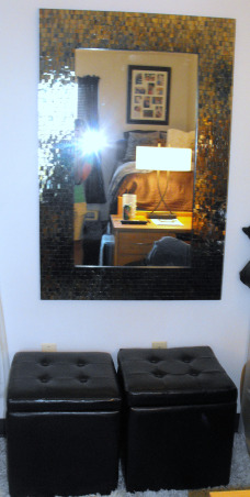 My Daughter's 1st home away from home..., Freshman dorm room turned hotel suite look-alike, Every girl needs a mirror...leather ottomans for extra storage and seating , Dorm Rooms Design