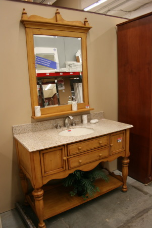 Before & After Sink Console Project, Inspired by Pottery Barn & Restoration Hardware sink consoles, I found one in a local store that just needed some TLC.  , saw this at home builders- a local store... I knew it had the right 'bones' but it wasn't the style I was looking for... but the price was right... $530.00 (plus 20% off).  , Bathrooms Design