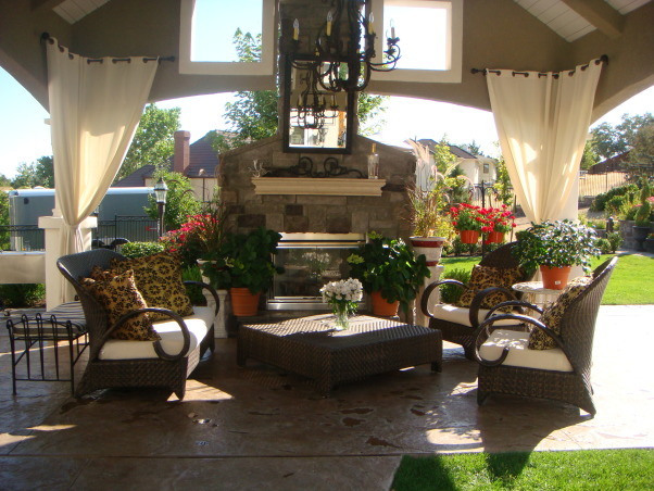 Our Disneyland, My husband designed this back yard, it was done in stages over three years.  We spend a lot of time in our back yard. , fireplace , Yards Design