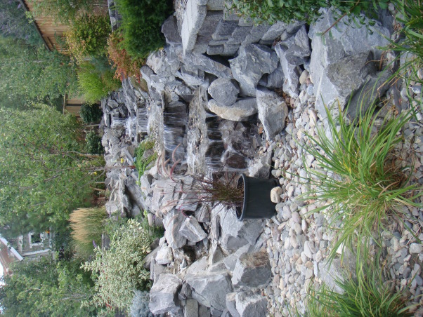 Our Disneyland, My husband designed this back yard, it was done in stages over three years.  We spend a lot of time in our back yard. , Rock waterfall , Yards Design